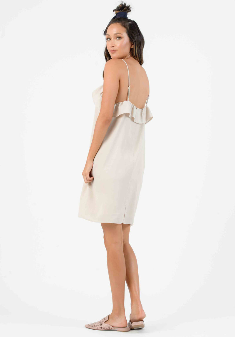 KENZIE RUFFLE SHIFT DRESS | SAND