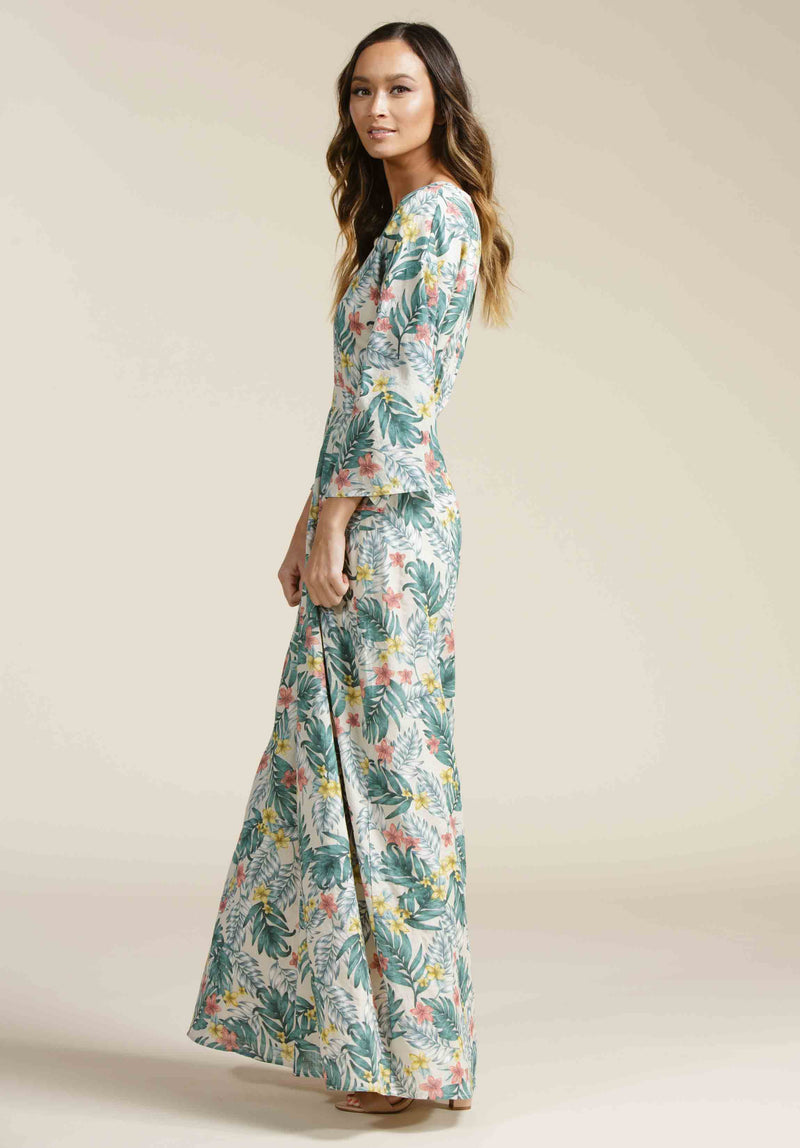 HAYDEN PLUNGING MAXI DRESS | LUAU SAND