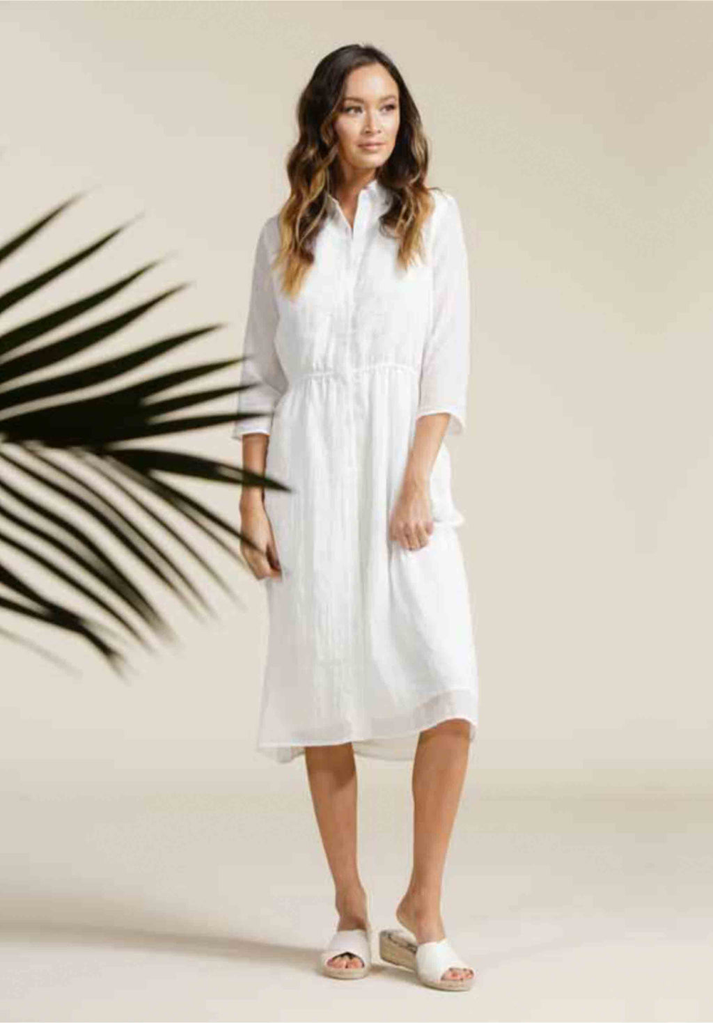 LEILA BUTTON DOWN DRESS | WHITE GAUZE