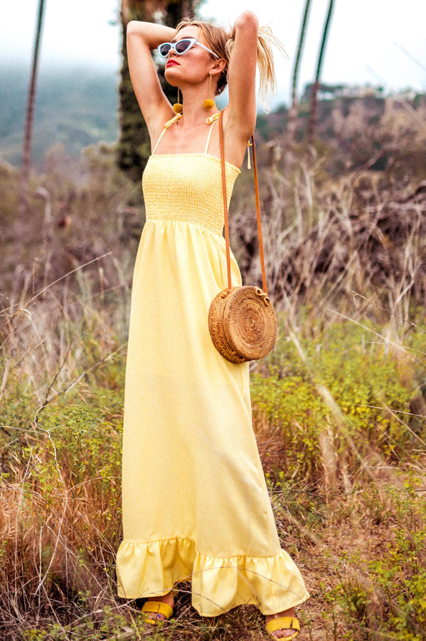 KIMBERLY SMOCKED MAXI | CANARY