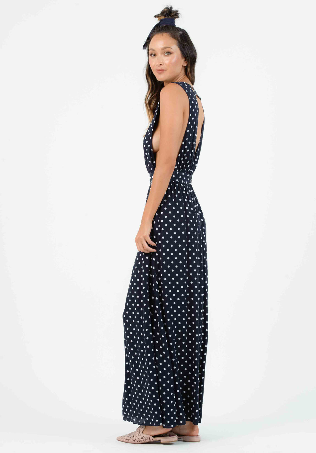 MARIAH PLUNGING NECK MAXI DRESS | NAVY POLKA DOT