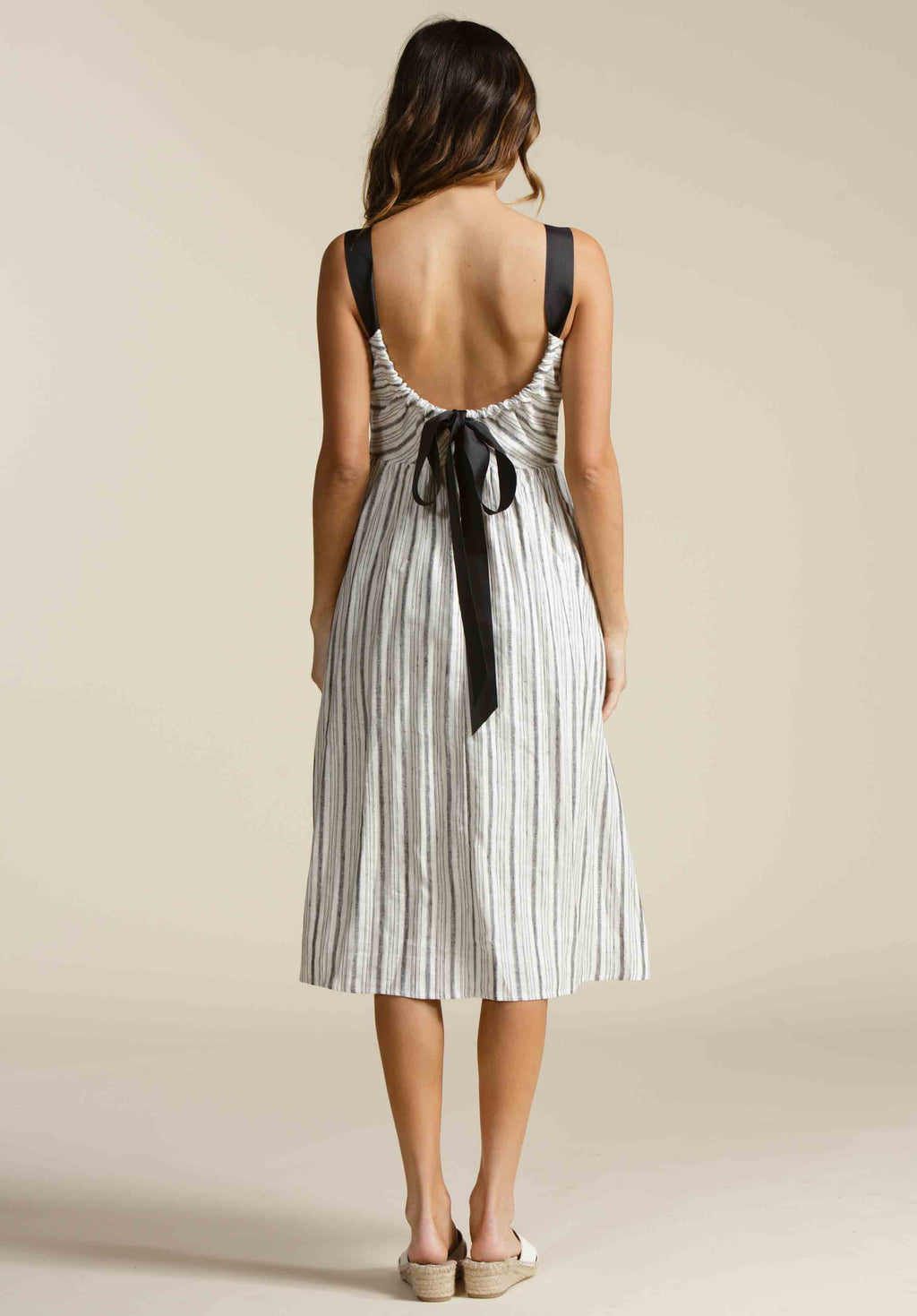 DAPHNE MIDI WOVEN DRESS  | CANOPY STRIPE