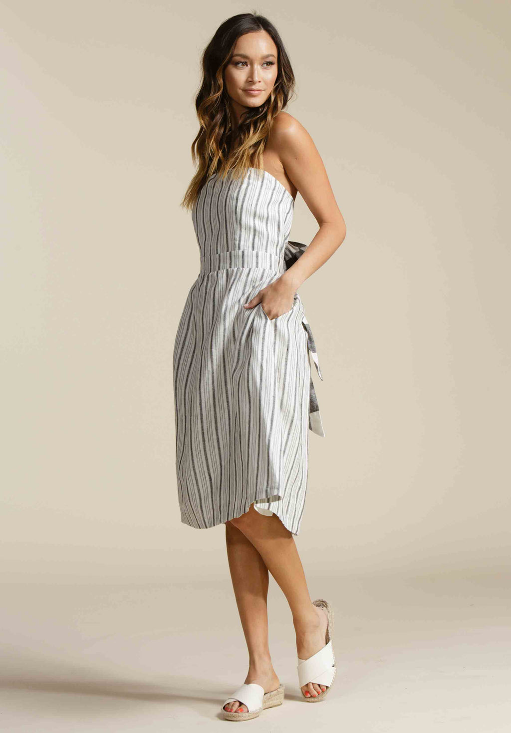 MAKENNA STRAPLESS MIDI DRESS | CANOPY STRIPE