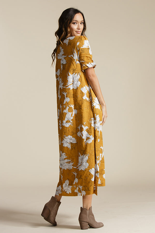 CARLY V NECK MIDI DRESS | SUNSET HIBISCUS