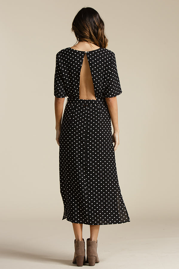 ELLE V NECK OPEN BACK MIDI | BLACK/WHITE POLKA DOT