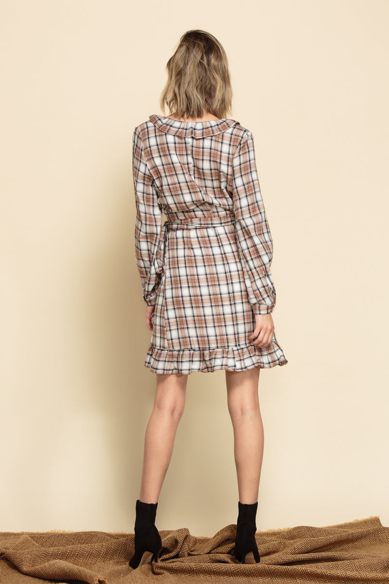 HARLOW RUFFLE WRAP DRESS | BROWN PLAID