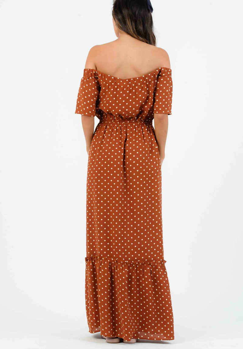 CAMILLA OFF SHOULDER MAXI DRESS | RUSSET POLKA DOT