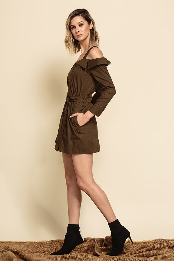 MILAN OFF THE SHOULDER TRENCH MINI DRESS | ARMY GREEN