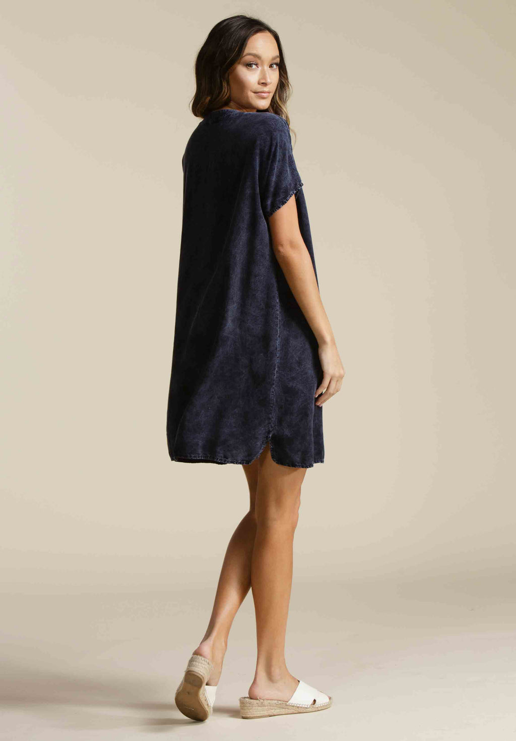 BROOKLYN HENLEY SHIFT DRESS | NAVY