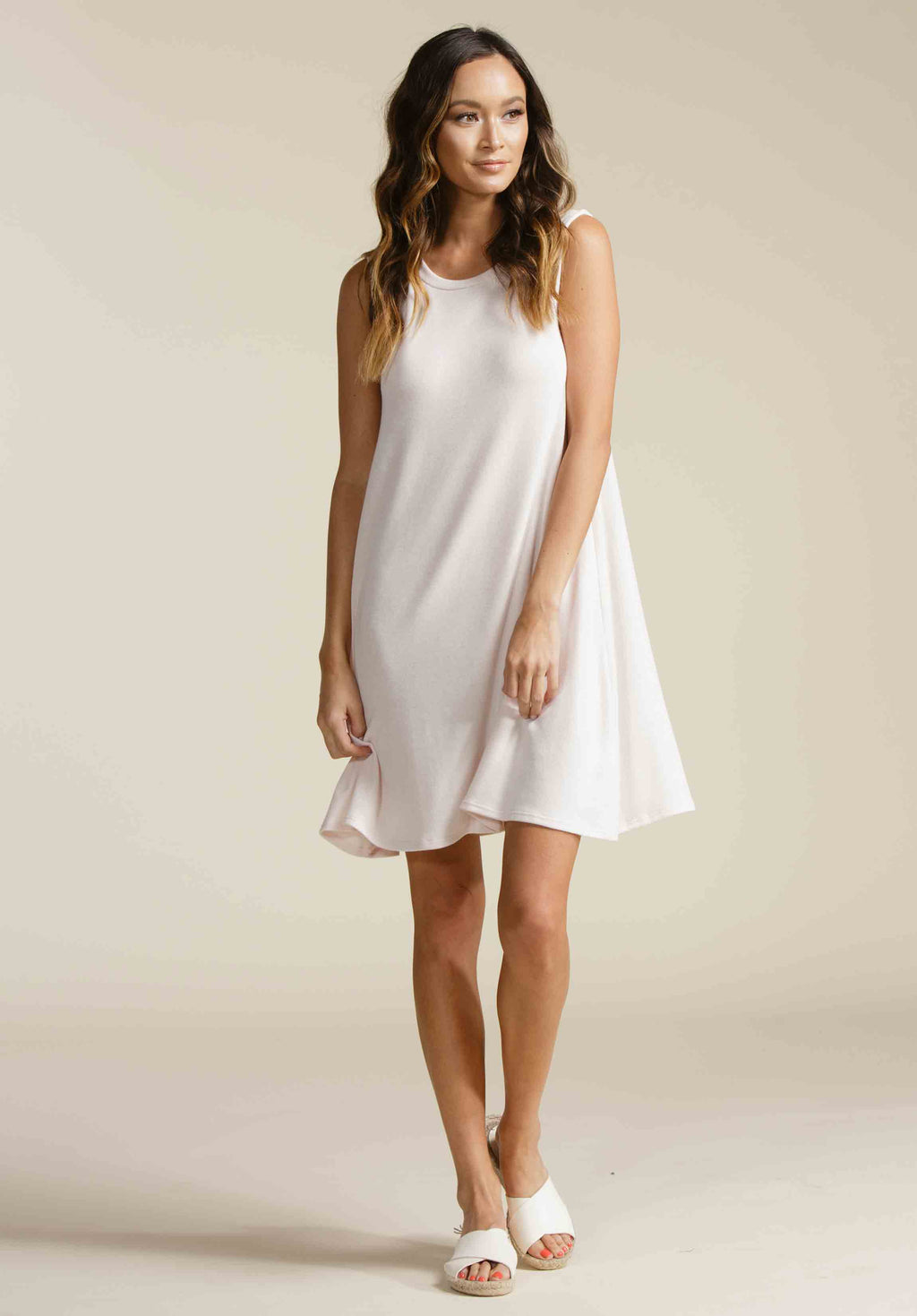 DANIELA TANK TRAPEZE DRESS |  BARELY PINK