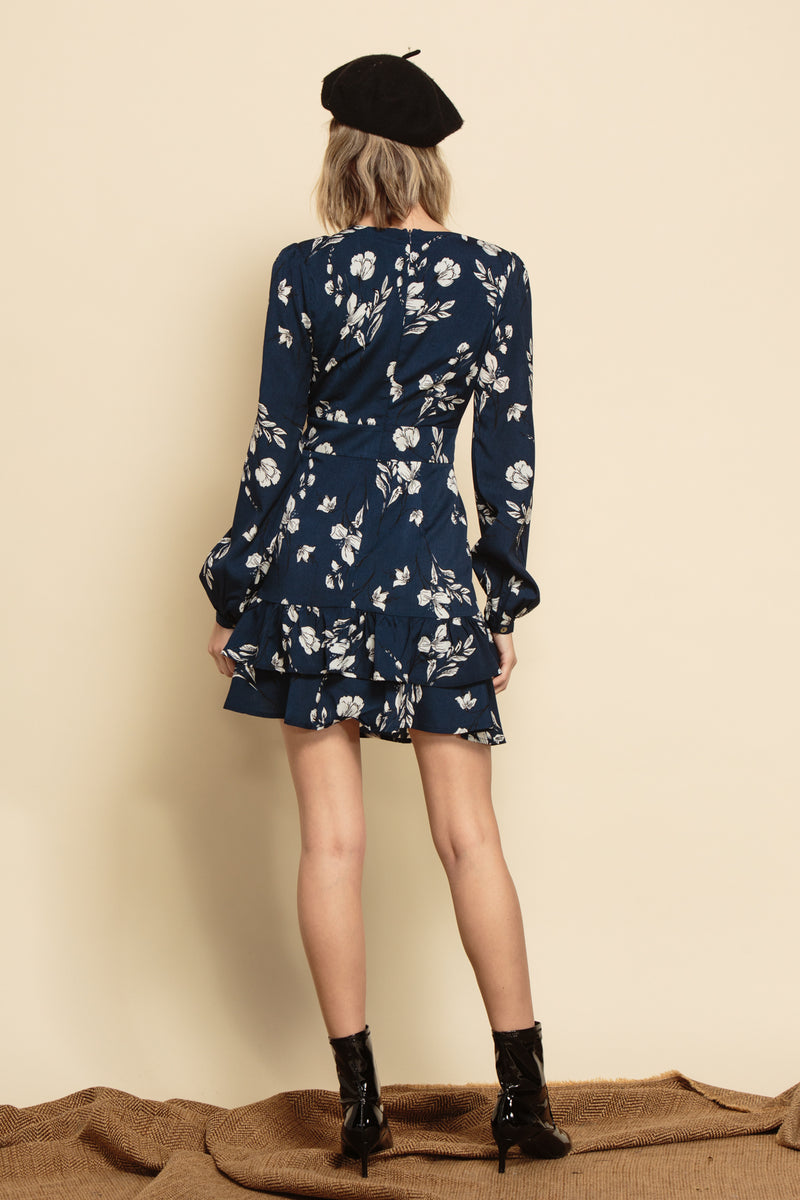 JOANNA RUFFLE LAYER DRESS | NAVY FLORAL