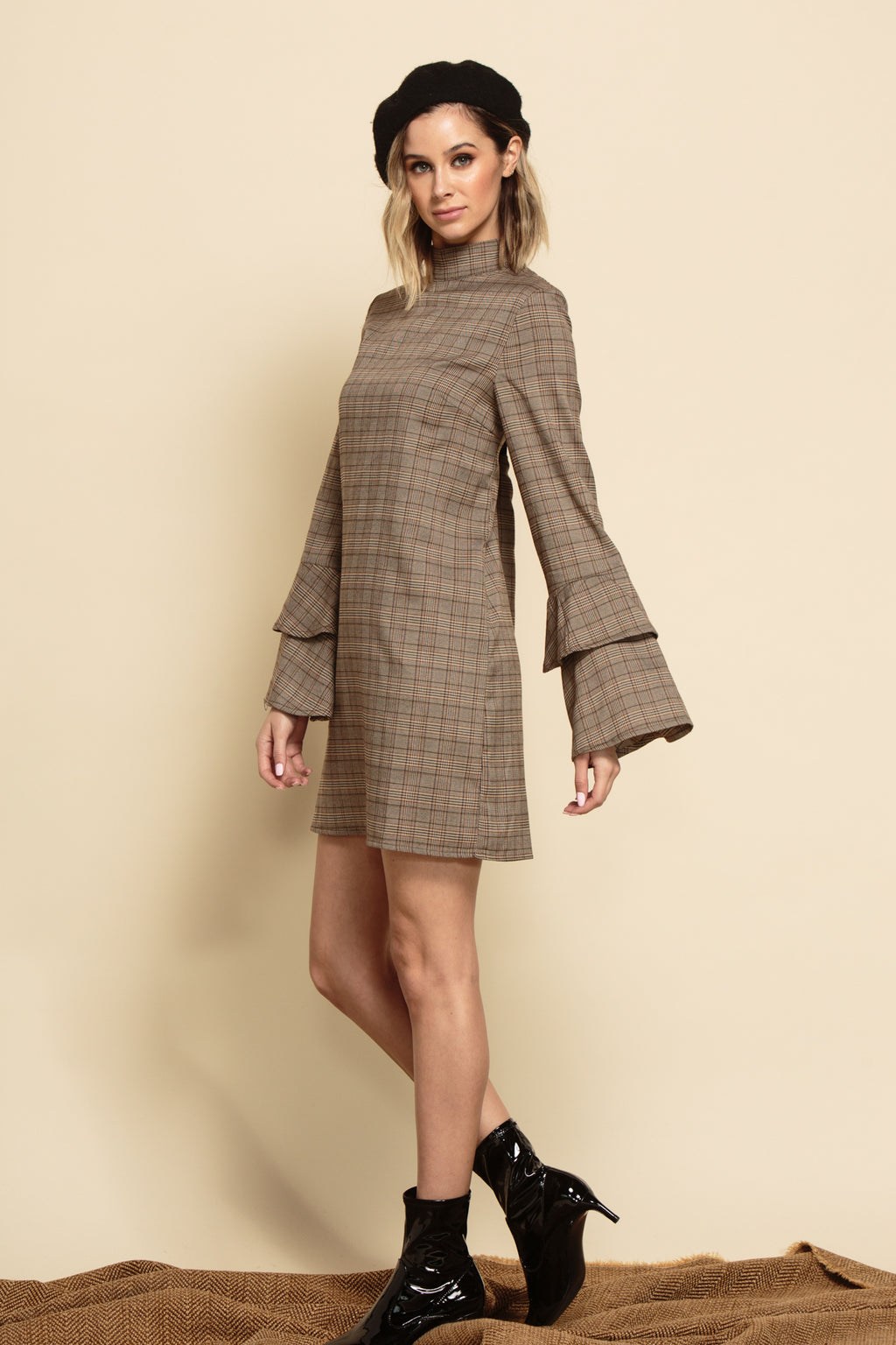 BETHANY MOCK NECK RUFFLE DRESS | BROWN PLAID