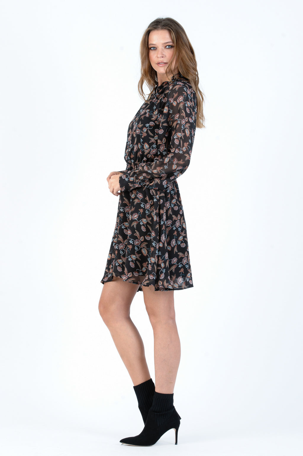 BRIGHTON RAGLAN DRESS | BLACK FLORAL