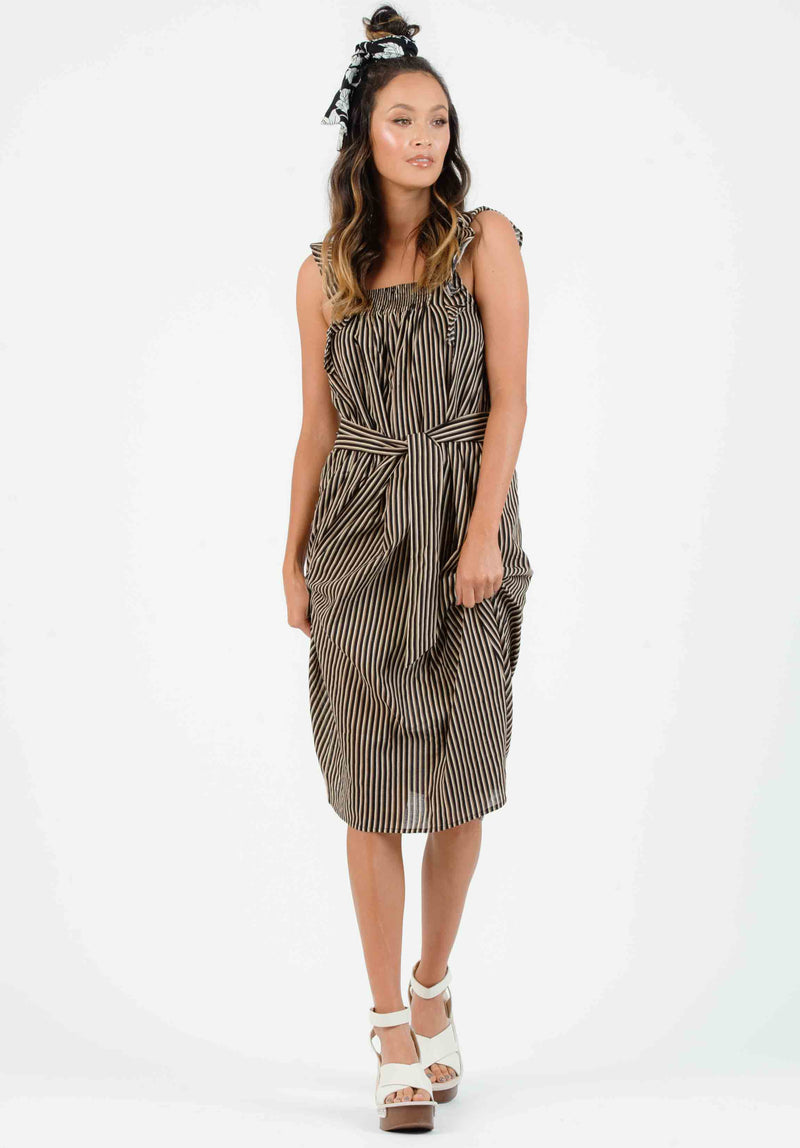 KALANI RUFFLE-STRAP TIE DRESS | BLACK MULTISTRIPE