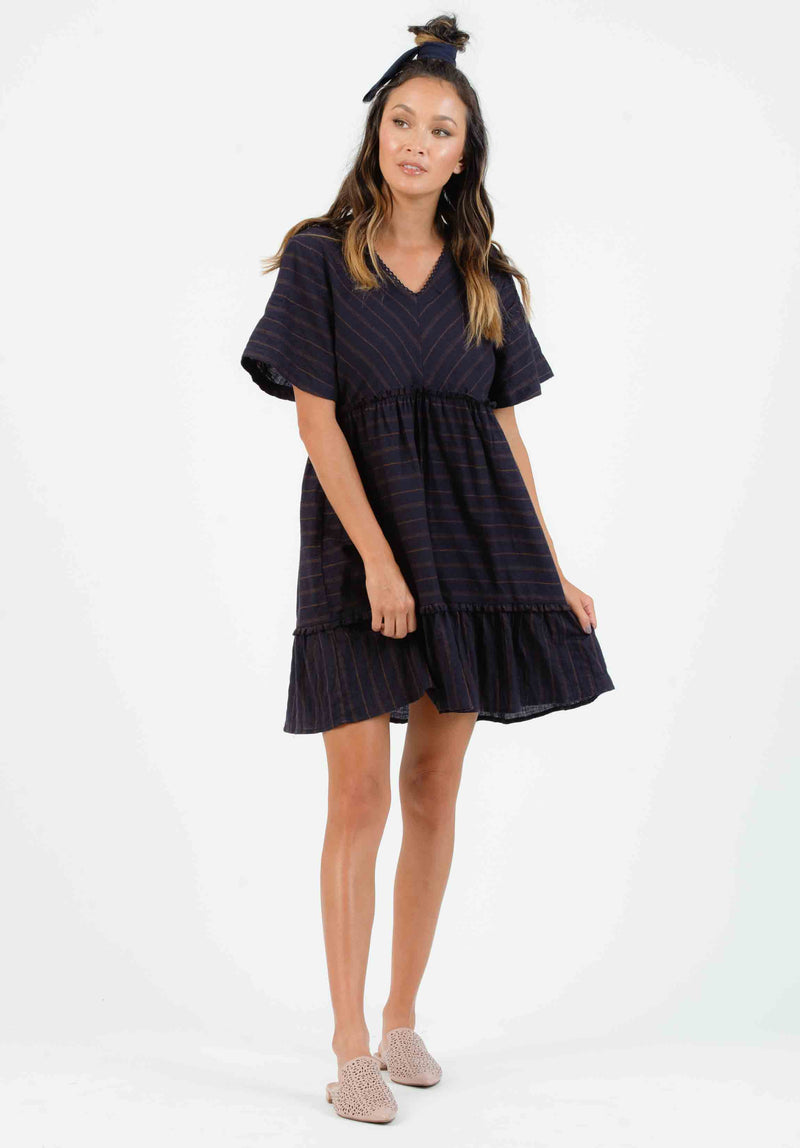 SHORE BABY DOLL DRESS | MIDNIGHT STRIPE