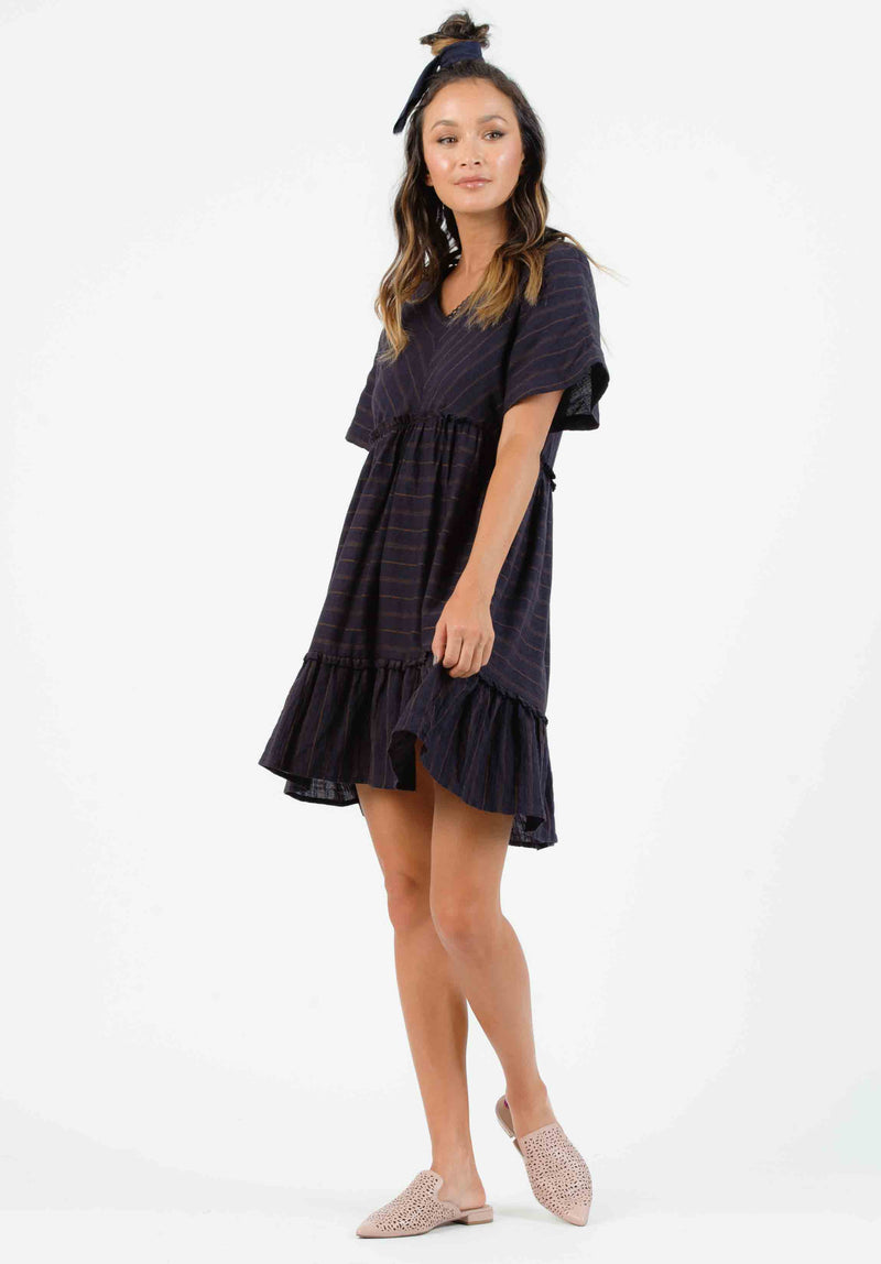 SYRACUSE RUFFLE DRESS | BLACK TAN STRIPE