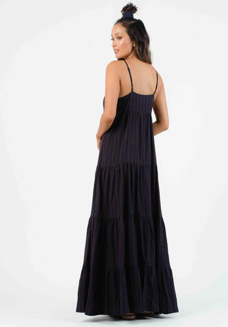 LIBBY TIERED MAXI DRESS | MIDNIGHT STRIPE