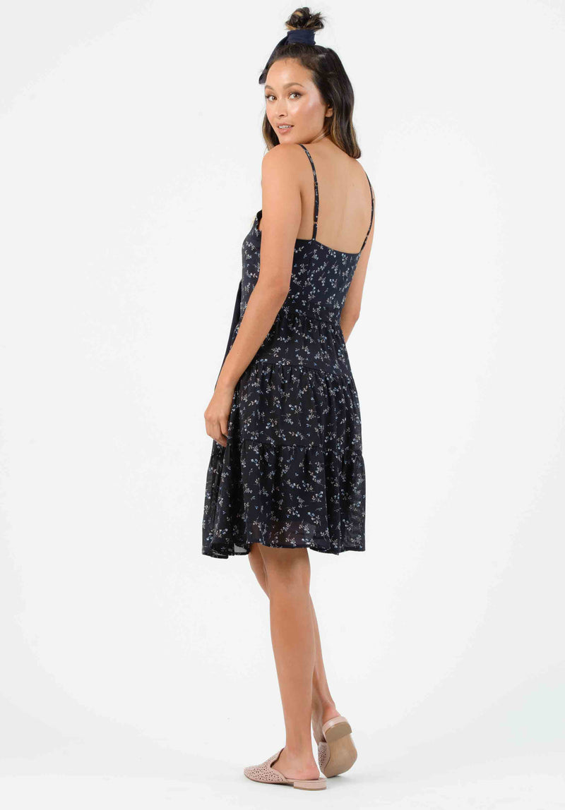 HAMPTON TIERED DRESS | NAVY MINI FLORAL