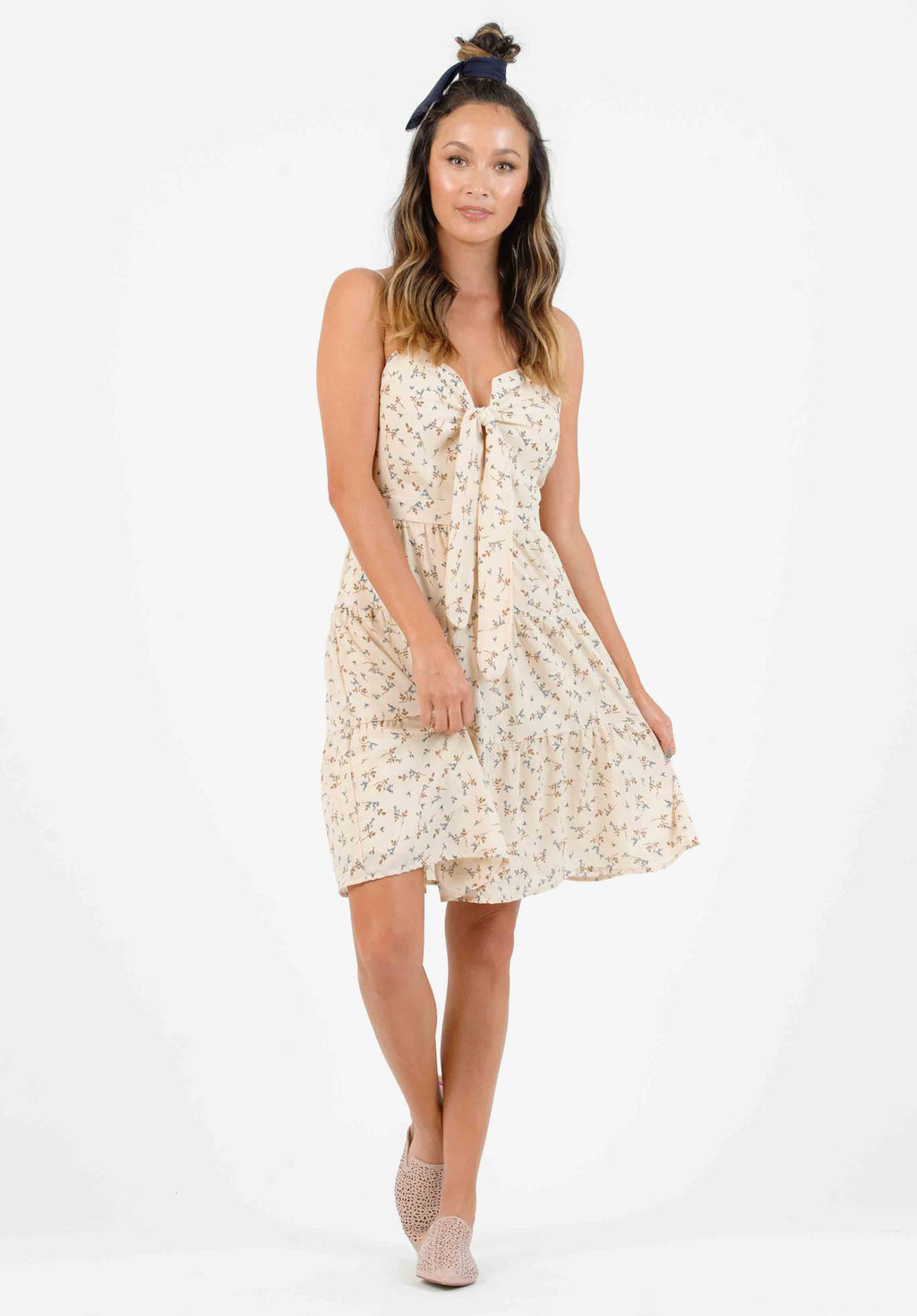 HAMPTON TIERED DRESS | TAN MINI FLORAL