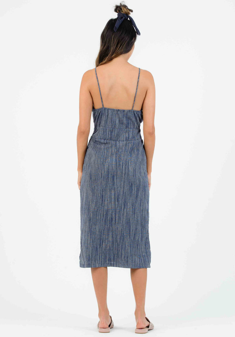 NAUTICAL BUTTON FRONT MIDI DRESS | TAHOE BLUE