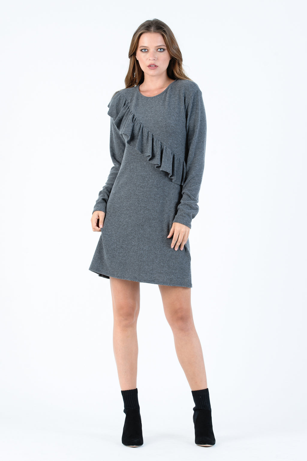 POLAR RUFFLE DRESS | CHARCOAL