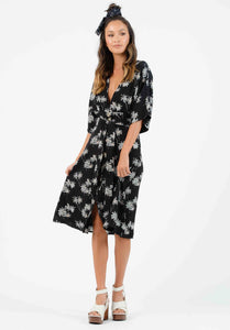 PALMETTO BUTTON DOWN MIDI DRESS | BLACK PALM