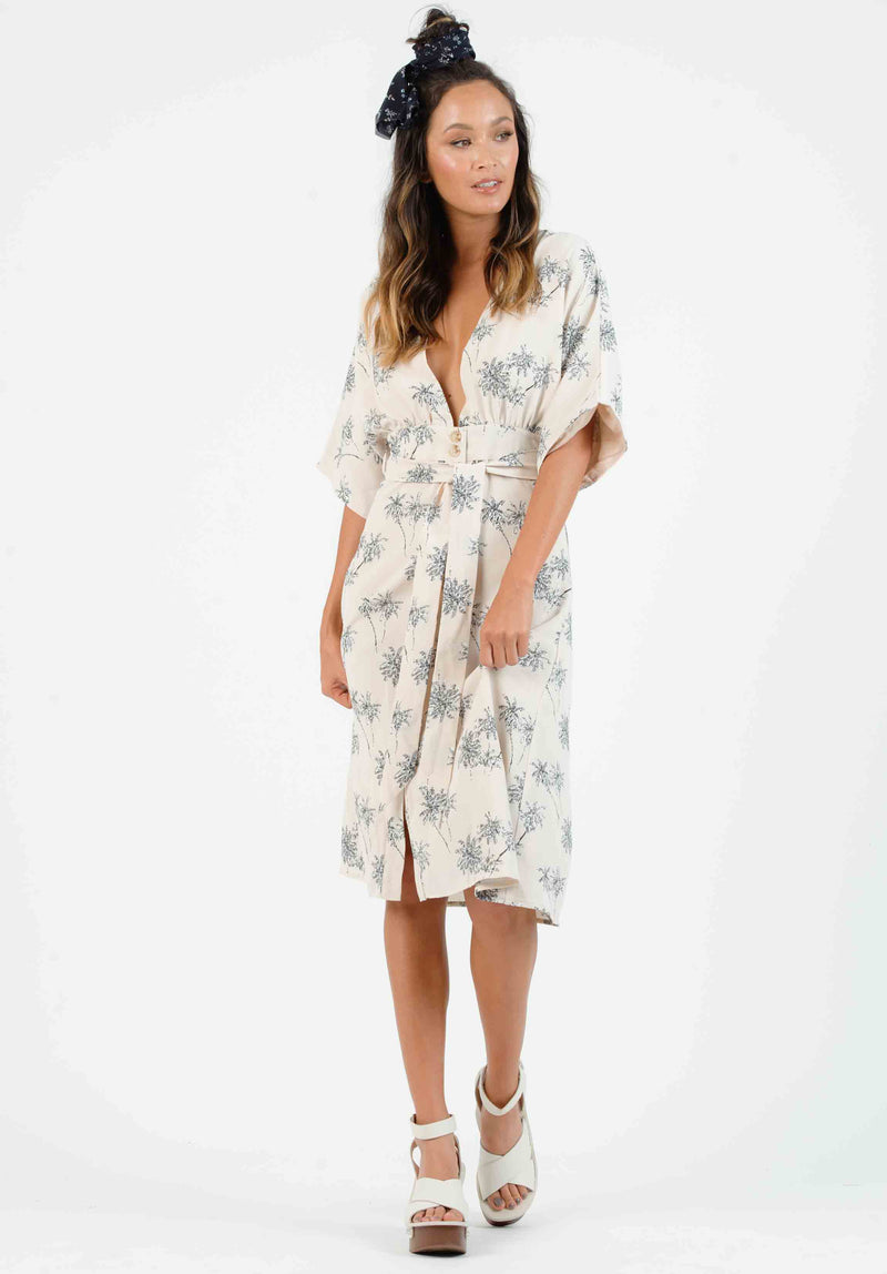 ALOHA BUTTON DOWN MIDI DRESS | TAN/RAINBOW STRIPE