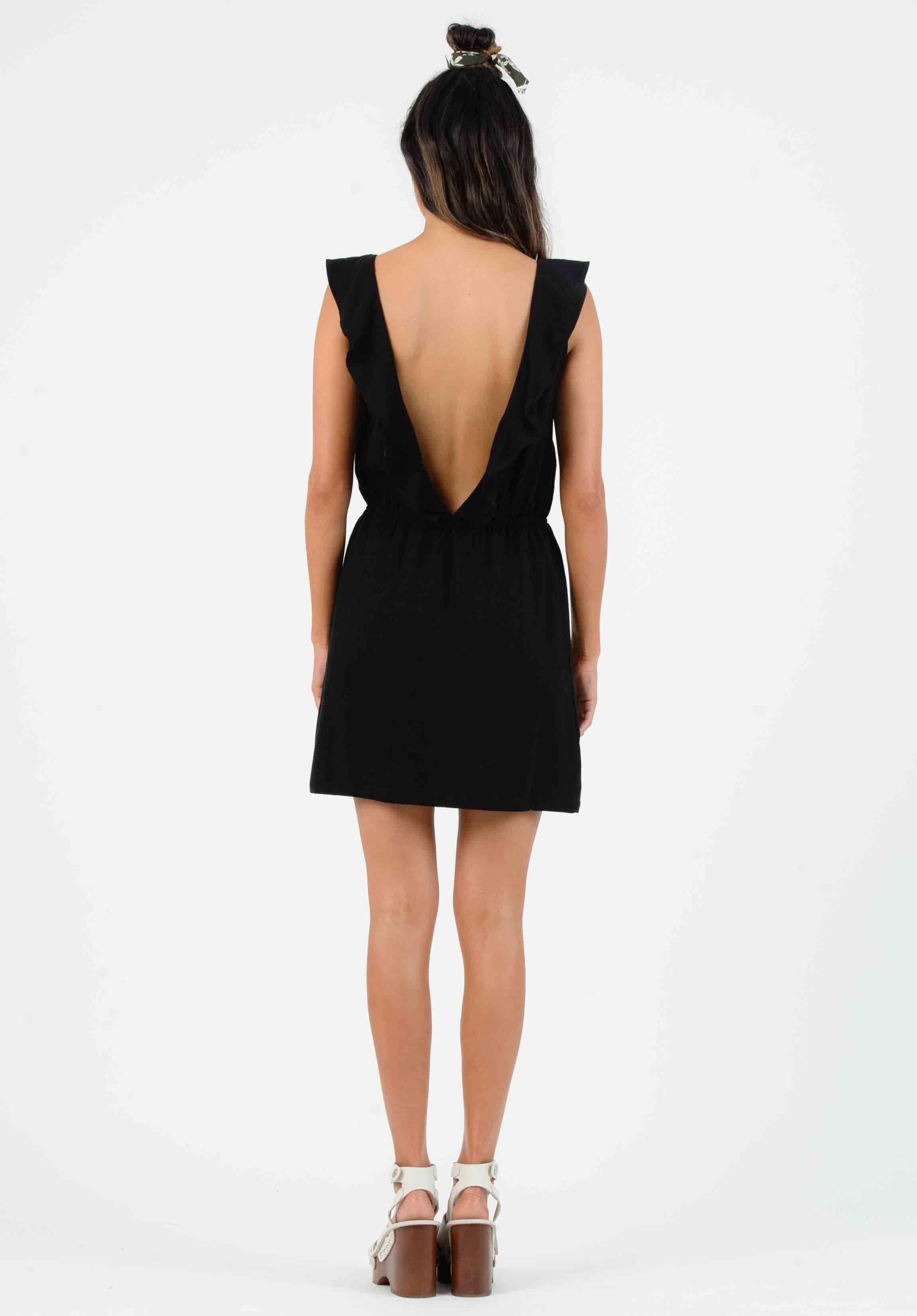 SELENE OPEN BACK MINI DRESS | BLACK