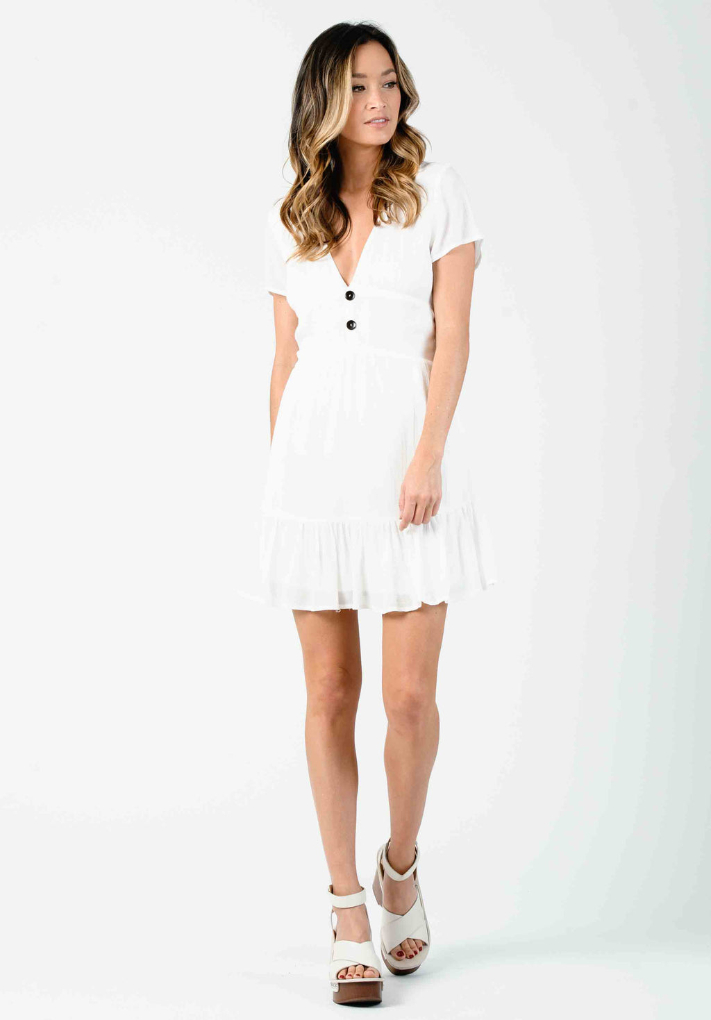 BAJA EMPIRE WAIST MINI DRESS | WHITE