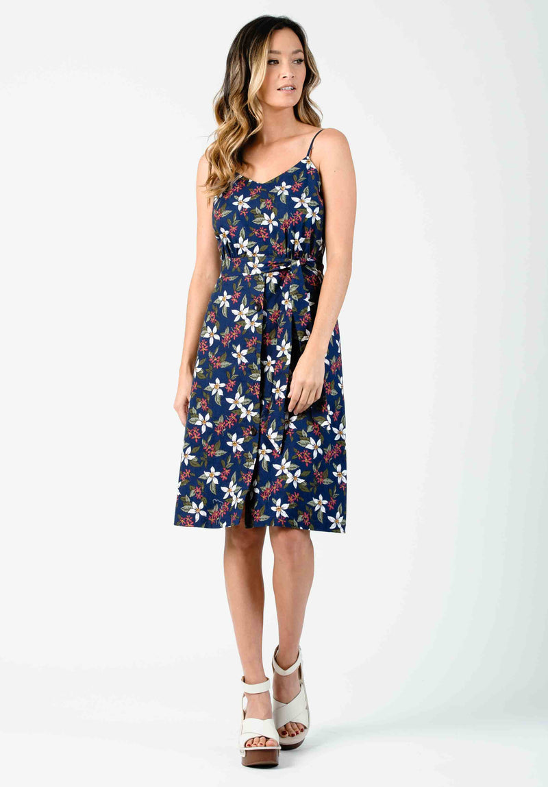 CLEOPATRA LOW BACK MIDI DRESS | NAVY FLORAL