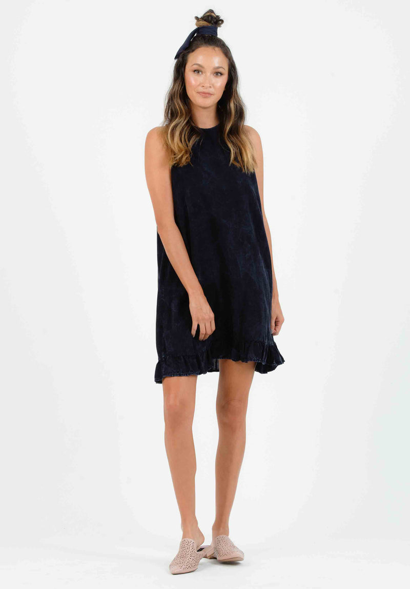 VALERIA BUTTON TAB KEYHOLE MINI DRESS | NAVY LEAF