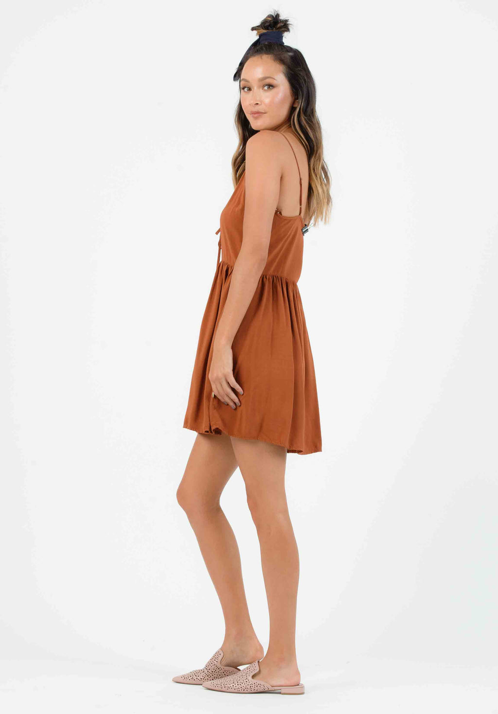 HAYES TIE FRONT MINI DRESS | SEDONA
