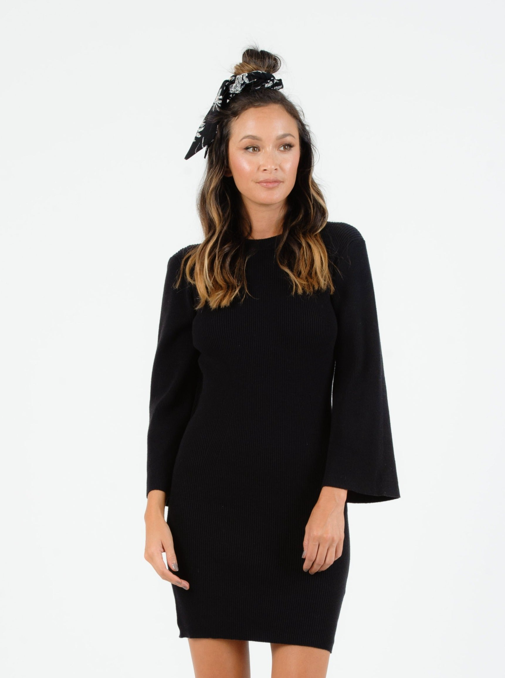 SERAFINA BLACK RIB SWEATER DRESS WITH BELL SLEEVES