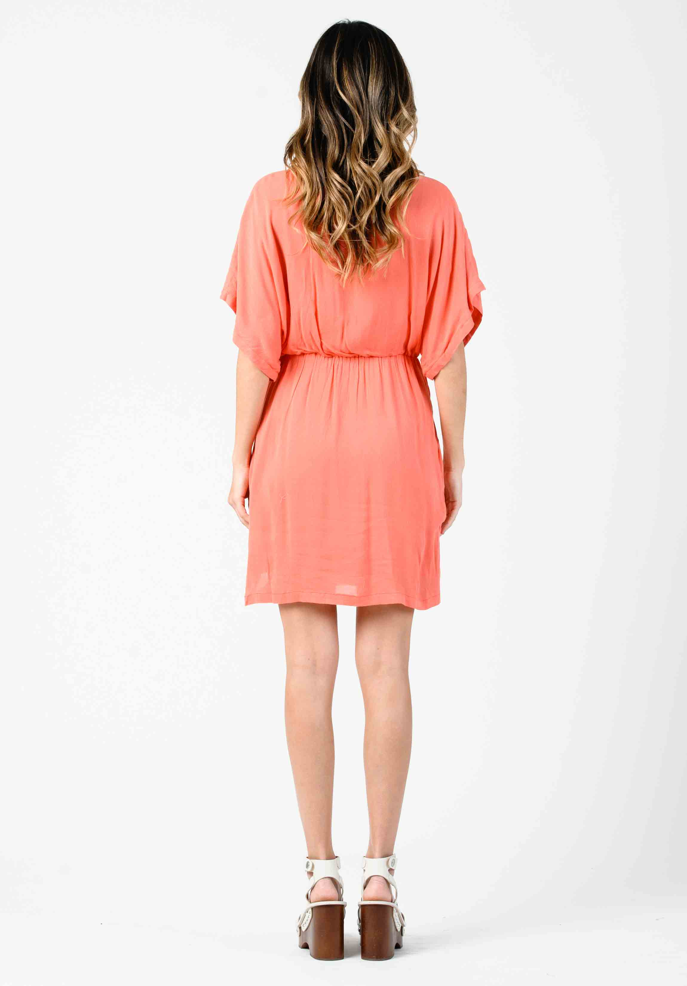 DAISY DOLMAN MINI DRESS | CORAL