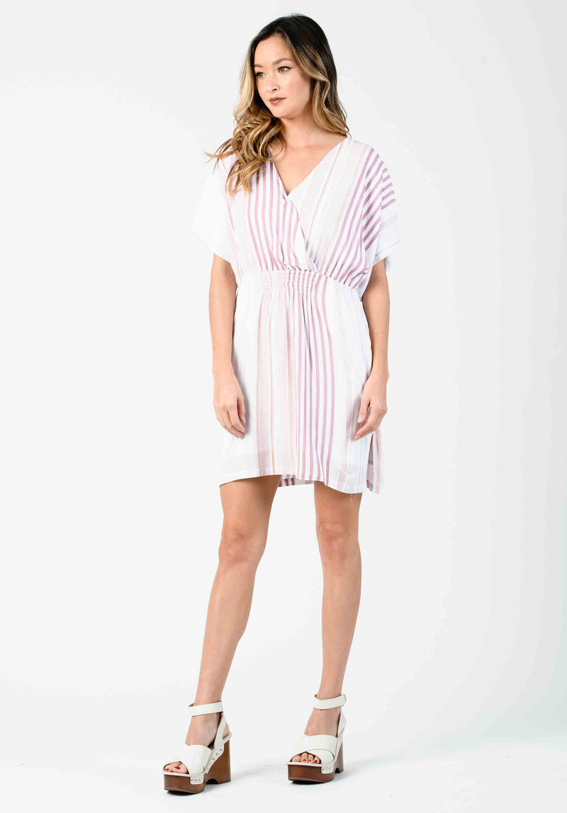 DAISY DOLMAN MINI DRESS | LAVENDER STRIPE