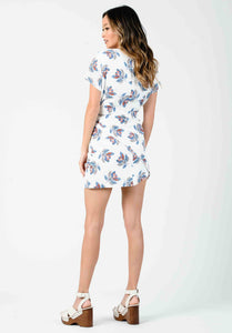 FLEUR WRAP SKIRT MINI DRESS | POWDER FLORAL