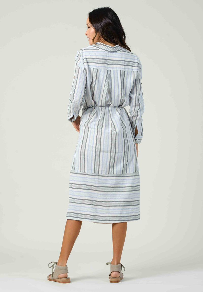 VIOLA BUTTON DOWN SHIRT DRESS | BLUE STRIPE