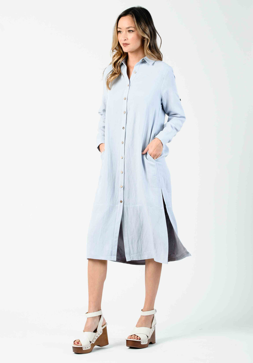 VIOLA BUTTON DOWN SHIRT DRESS | SEA MIST