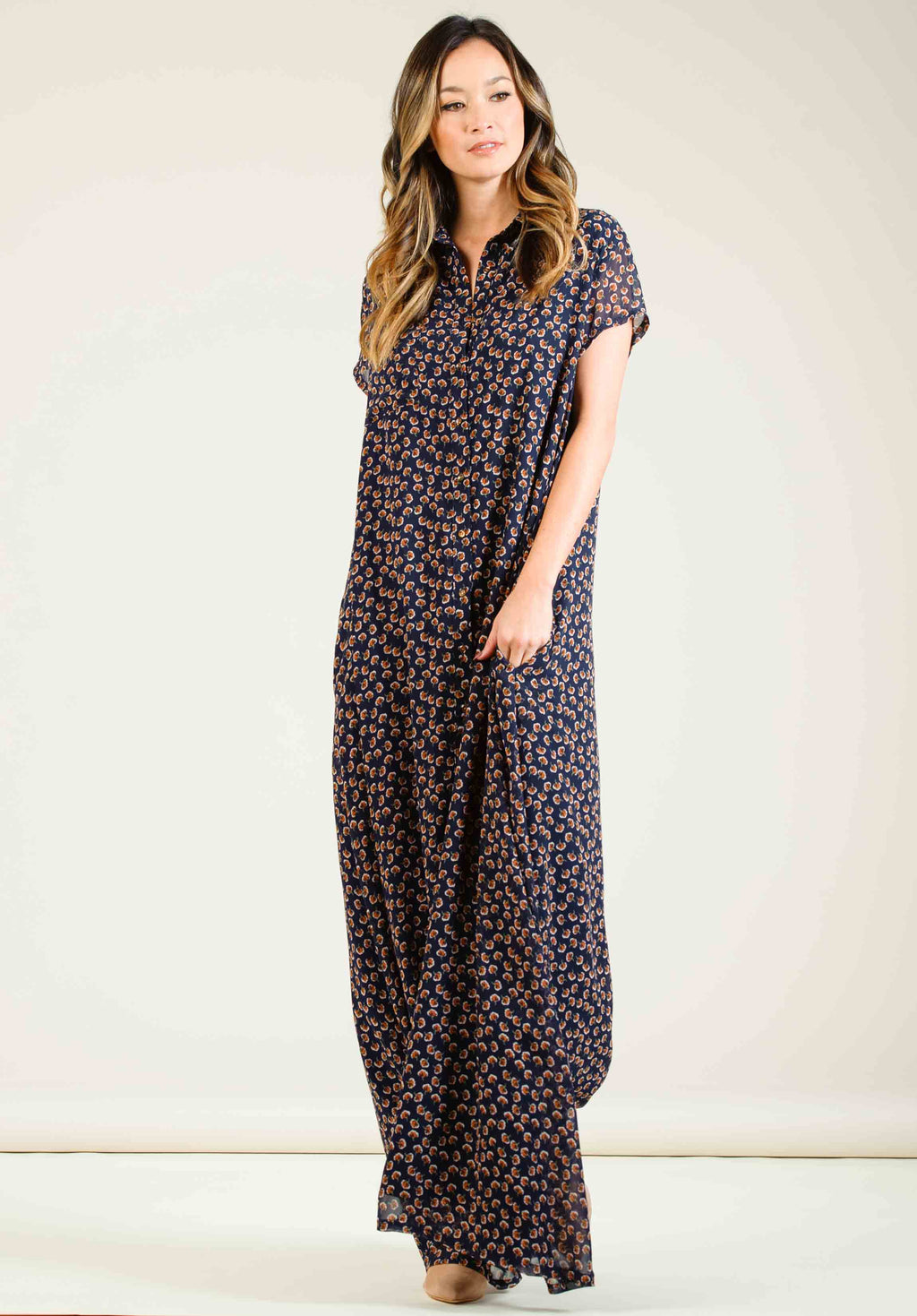 e7716f6906 LORETTA BUTTON DOWN MAXI DRESS | NAVY/ORANGE DITSY