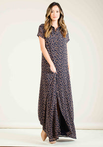 LORETTA BUTTON DOWN MAXI DRESS | NAVY/ORANGE DITSY