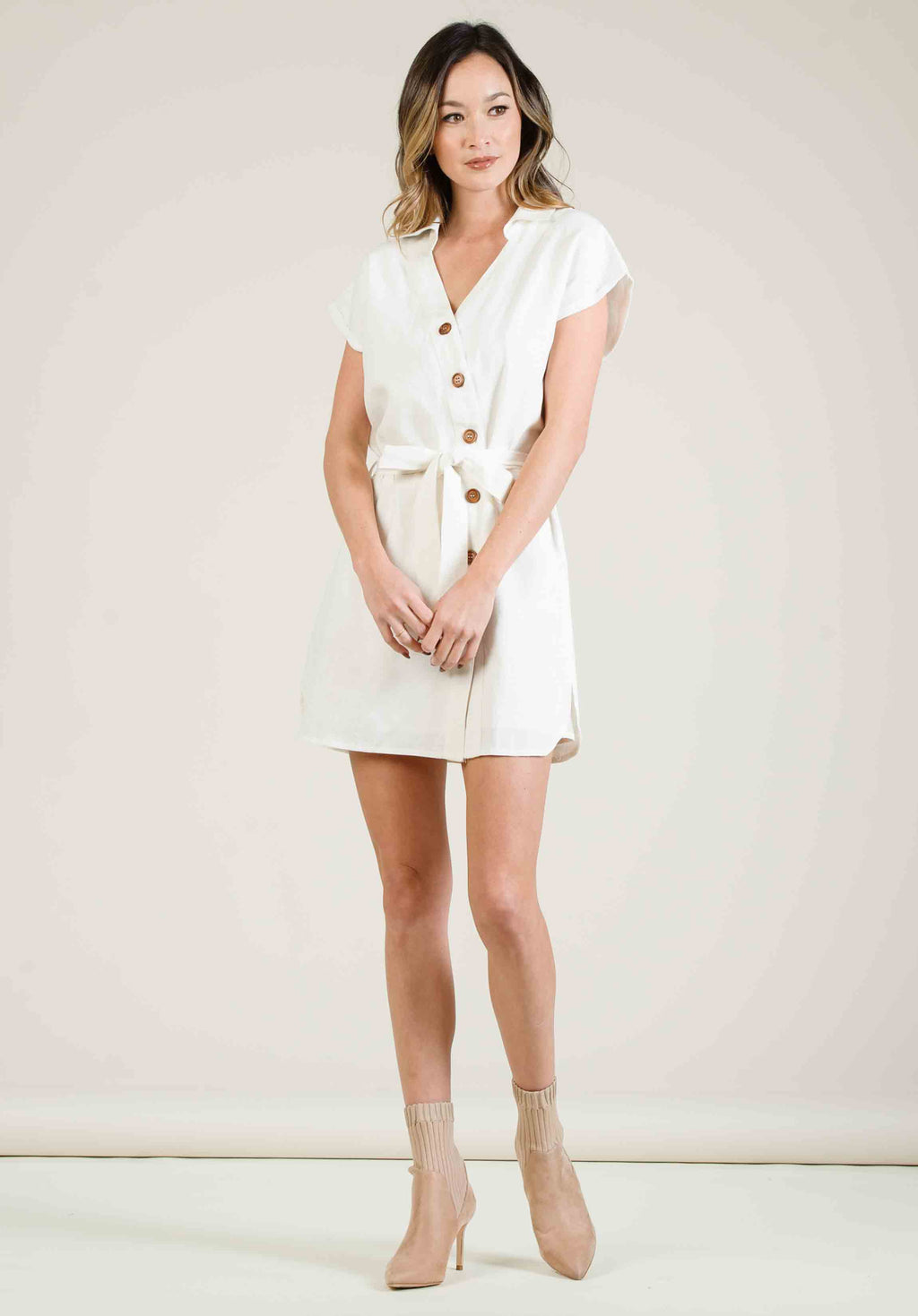 GIA BUTTON DOWN MINI DRESS | WHITE