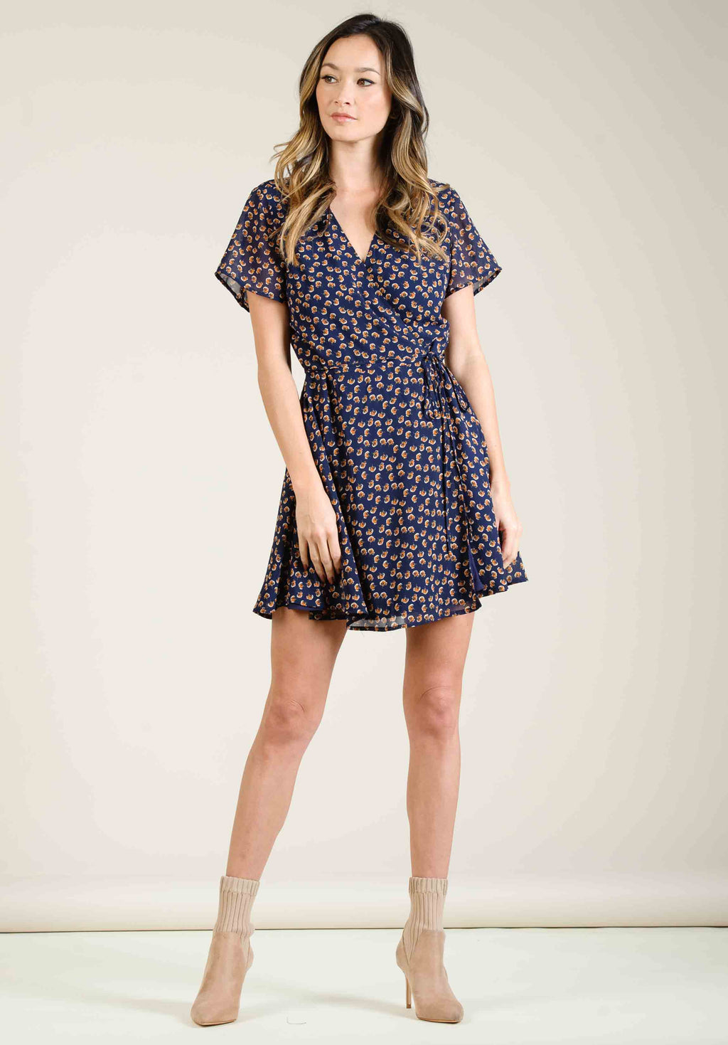 JOSEFINA WRAP FRONT MINI DRESS | NAVY/ORANGE DITSY