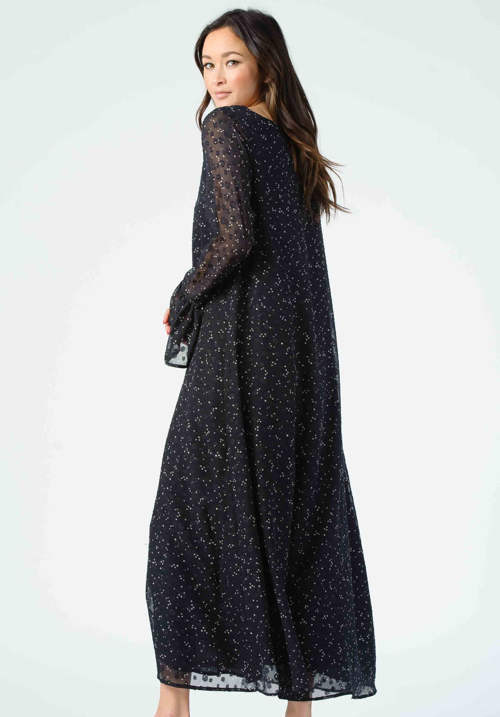 PEROGNON FLUTTER SLEEVE MAXI DRESS | BLACK DOTS