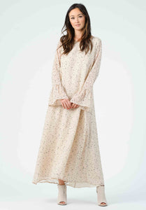PEROGNON FLUTTER SLEEVE MAXI DRESS | CREAM DOTS