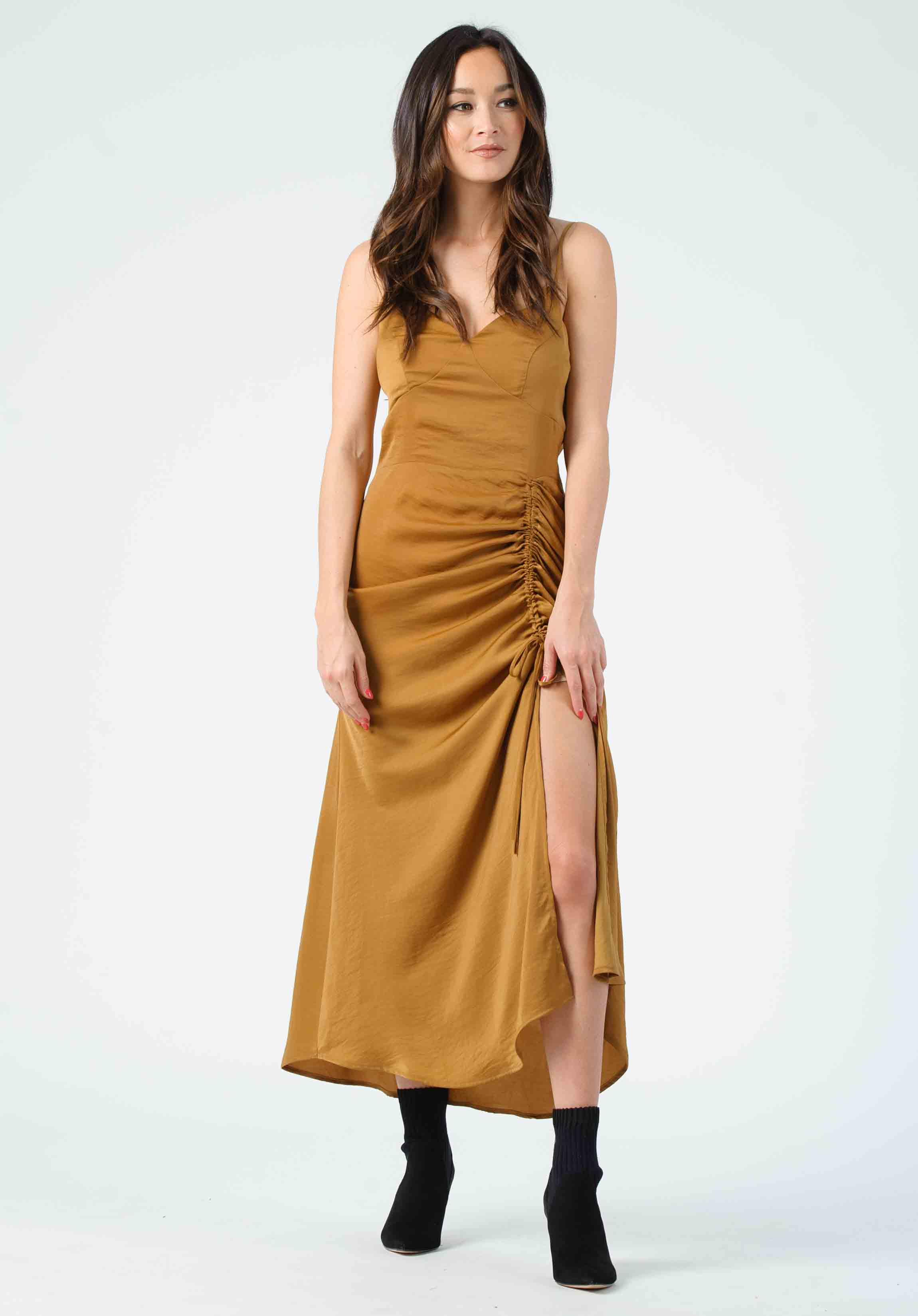 SERENITY CINCHED CAMI MIDI DRESS | AMBER