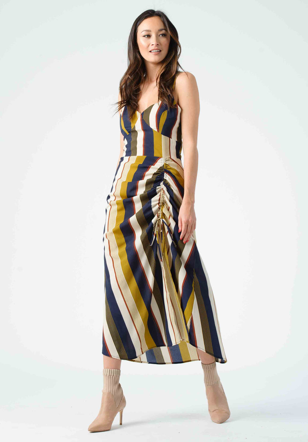 SERENITY CINCHED CAMI MIDI DRESS | HARVEST STRIPE
