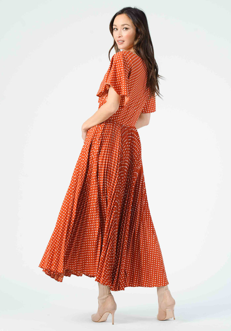 MEADOW PLEATED MIDI DRESS | COPPER POLKA DOT