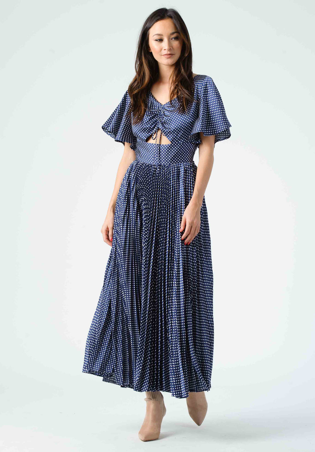 MEADOW PLEATED MIDI DRESS | NAVY POLKA DOT