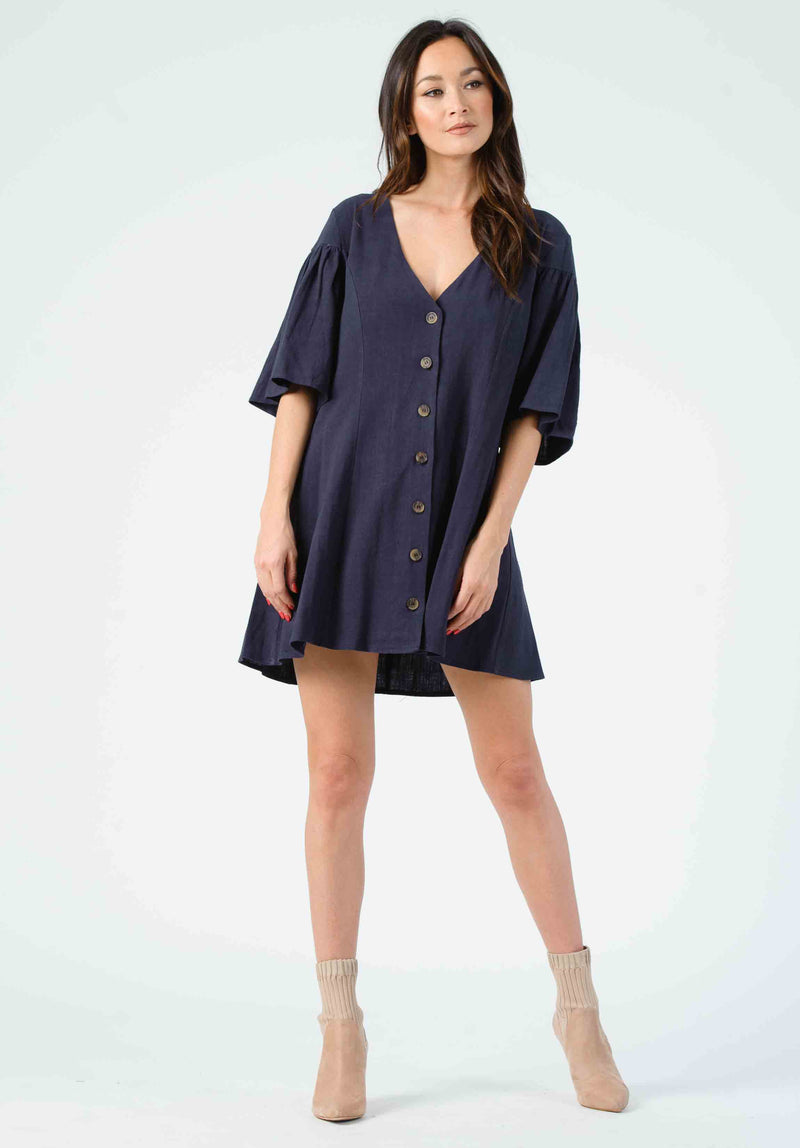 DAWN FLUTTER SLEEVE MINI DRESS | SLATE BLUE