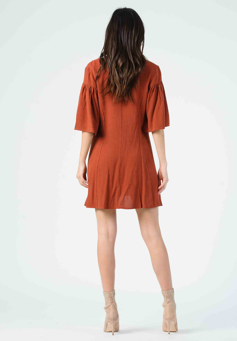 DAWN FLUTTER SLEEVE MINI DRESS | ANTIQUE COPPER
